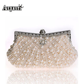 AEQUEEN Women Evening Clutch Bags Imitation Pearl Bead Rhinestone Female Wedding Bridesmaid Party Bags Charm Chains Handbag