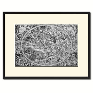 Christian Celestial Hemisphere Vintage B&W Map Canvas Print, Picture Frame Home Decor Wall Art Gift Ideas