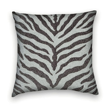 Gray Contemporary Woven Decorative Gray Pillow Cover 20 x 20 Duralee Zebra Throw Pillow-- Accent Pillow--Charcoal and Grey