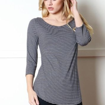 Striped Boatneck Top - Navy