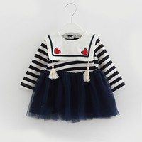 2017 Autumn newborn baby girls dress striped bow kids children baby girls clothes with little girl doll Long sleeve pink
