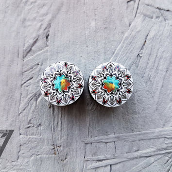 SALE plugs Geometric mandala image ear gauges 6,8,10,12,14,16,18,20,22,24,26-60mm;6g,4g,2g,0g,00g;1/4,5/16,3/8,1/2,9/16,5/8,3/4,7/8,1 1/4""