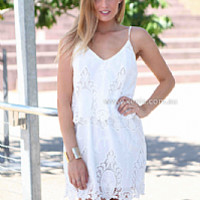 SUMMER TIME DRESS , DRESSES, TOPS, BOTTOMS, JACKETS & JUMPERS, ACCESSORIES, 50% OFF SALE, PRE ORDER, NEW ARRIVALS, PLAYSUIT, COLOUR, GIFT VOUCHER,,White,LACE,CUT OUT,SLEEVELESS,MINI Australia, Queensland, Brisbane