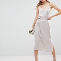 ASOS Midi Slip Dress in Satin with Tie Waist at asos.com