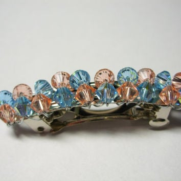 Peach and Blue Beaded Barrette