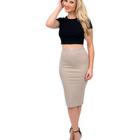 Beige High Waist Stretch Pencil Skirt