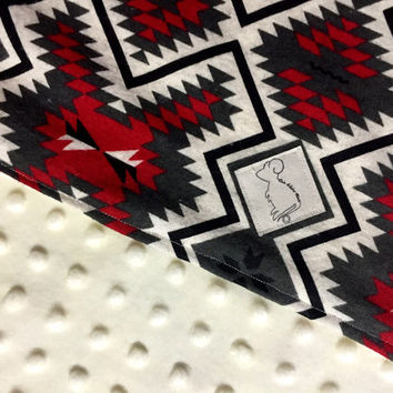 Aztec flannel & Minky Baby Blanket *discounted*