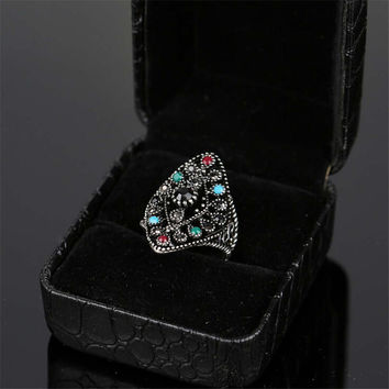 Women Fashion Casual Retro Hollow Out Ethnic Style Ring Best Gift Rings-18