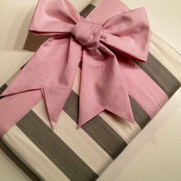 "Macbook Pro 15 Sleeve MAC Macbook Air / Pro 15"" inch Laptop Computer Cover Case Grey Stripe Pink Gift Bow"