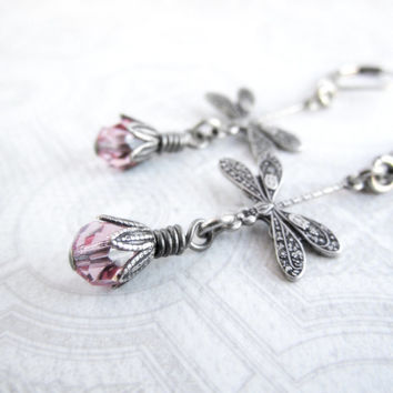 Dragonfly Earrings - Lightweight Valentine Jewelry - Light Rose Pink