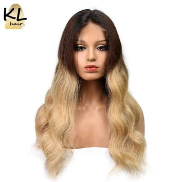 KL Hair Ombre Lace Front Human Hair Wigs Body Wave Color 1B/4/27 Brazilian Remy Hair Lace Wigs For Black Women With Baby Hair
