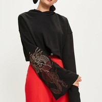 Missguided - Black Embroidered Flare Sleeve Cropped Hoodie