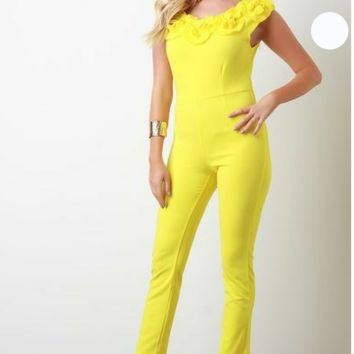 Cap Sleeves Fitted Jumpsuit