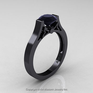 Modern 14K Black Gold Luxurious and Simple Engagement Ring or Wedding Ring with a 1.0 Ct Black Diamond Center Stone R668-14KBGBD