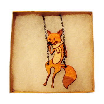 Fox on a Swing Necklace
