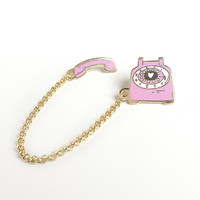 Rotary Dial Telephone Lapel Pin - Pinkberry