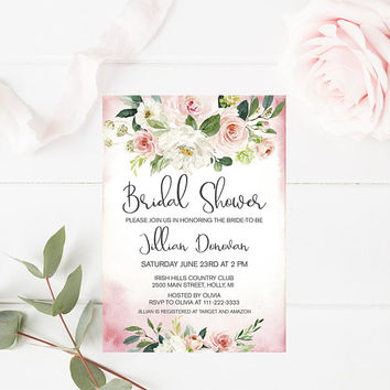 Bridal Shower Invitation, Blush Pink Floral Bridal Shower Invitation, Printable Pink Bridal Shower Invitation, Bridal Shower Party