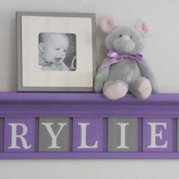 "Baby Girl Nursery - Grey and Purple Nursery Decor - 7 Wooden Wall Letters on 30"" Lilac Shelf - Name RYLIE with Flowers"