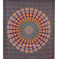 Queen Psychedelic Hippie Mandala Tapestry, Boho Wall Hanging Bed Cover on RoyalFurnish.com