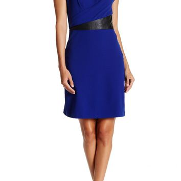 Julia Jordan Faux Leather-Trimmed Sheath Dress