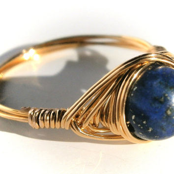 Gold lapis lazuli wire ring, Custom Sized, Wire Wrapped Ring, Gemstone Ring