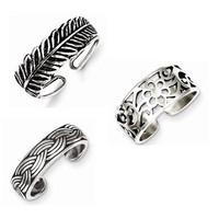 Set of 3 Sterling Silver Toe Rings