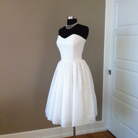 Short Wedding Dress Strapless White Eyelet by FrenchKnotCouture