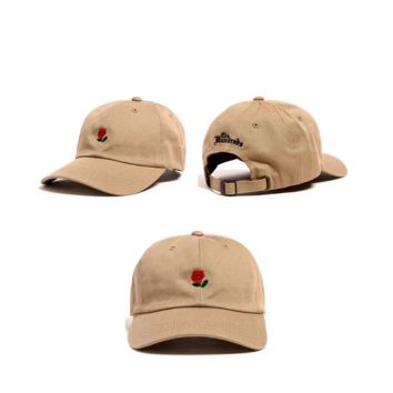 Khaki Rose Embroidered Authentic Embroidered Baseball Caps Hat