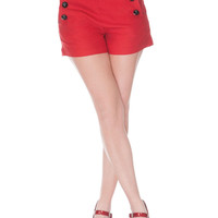 Pinup 60's Bombshell Sexy Red Stretch High Rise Waisted Sailor Shorts