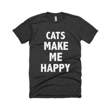 Cats Make Me Happy T-Shirt by ΛNML