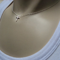 Tiny Cross Necklace, 925 Sterling Silver, Delicate Pendant, Simple Layering Necklace, Little Christian Cross Necklace, Graduation Gift