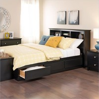 Twin XL Platform Bed with Bookcase Headboard & 3 Storage Drawers