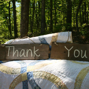 "Wedding Sign Pair - Rustic, Wooden, Reclaimed Lumber - ""Thank You"""