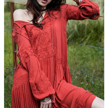 Women Dresses Elegant Ladies Vintage Long sleeve embroideried orange red Maxi Dress Vestidos Femininos boho chic clothing 2017