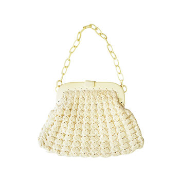 Crochet Bag Strap : Small cross body bag, shoulder bag, white crocheted pouch, extra