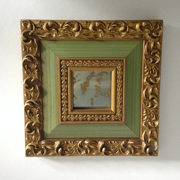 Vintage Green/Gold Small Ornate Square Mirror
