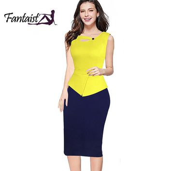 Fantaist Women Summer False Jacket One Piece Sleeveless Keyhole Patchwork Peplum Business Office Casual Sheath Pencil Work Dress