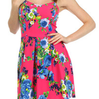 ROSE FLORAL PRINT DRESS - FUSCHIA