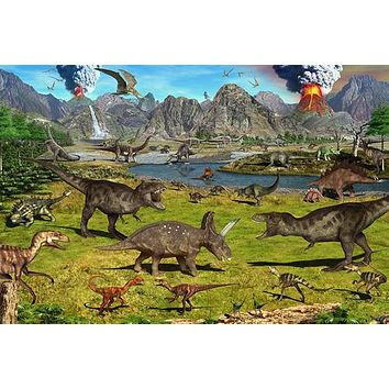 DINOSAUR VOLCANOES murals poster PREHISTORIC KIDS FAVORITE colorful 24x36