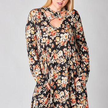 Floral Print Flared Pocket Dress - Black