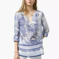 Blue and White Porcelain Print Long Sleeve Blouse