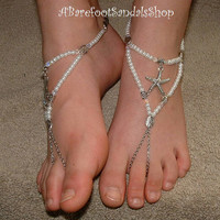#low #flat #beach #wedding #shoes #sandals #pearl #set #bride #bridal #ankle #beaded #anklet #foot #jewelry