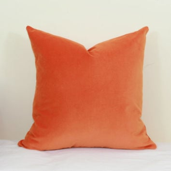 Orange velvet throw pillow cover 18x18 pillow cover 20x20 pillow cover Orange velvet pillow Orange lumbar pillow 12x20 12x24 14x26 16x26