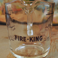 Vintage Fire King Measuring Cup Glass ~ Black Lettering ~1 Cup ~D Handle