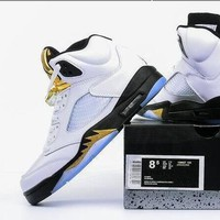 Nike Air Jordan Retro 5 Olympic Gold Coin White 136027-133 basketball shoes