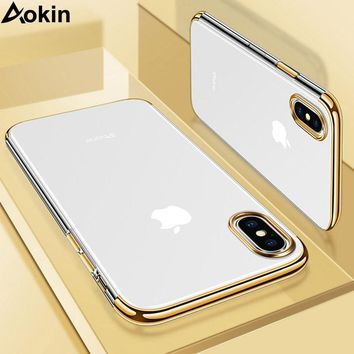 Aokin Luxury Soft TPU Silicone Shockproof Case For iPhone X 10 Case Back Phone Cover For iPhone X 6 7 8 Plus 6s 7Plus Case Coque