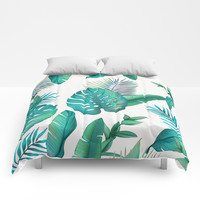 Tropical leafs pattern Comforters by printapix