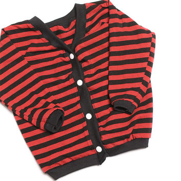 baby boy clothes baby boy cardigan baby newborn to 5 T long sleeve cardigan sweater red stripe