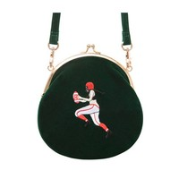 YiZi Mini Velvet Crossbody Bag | Green Football