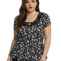 Skelanimals Black Lace Peplum Girls Top Plus Size